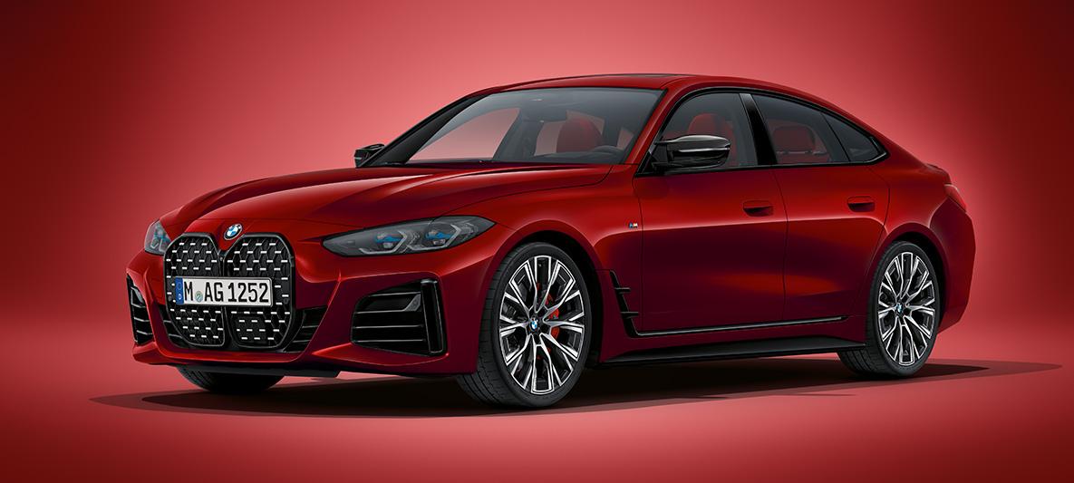 BMW 4er Gran Coupé G26 2021 BMW Individual Aventurinrot metallic Dreiviertel-Frontansicht stehend